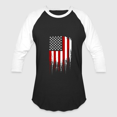 Tactical Skull American Flag - Baseball T-Shirt
