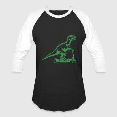 Dinosaur on a scooter - Baseball T-Shirt