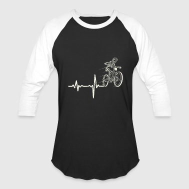 Mtb Cross Country gift heartbeat mountainbike - Baseball T-Shirt