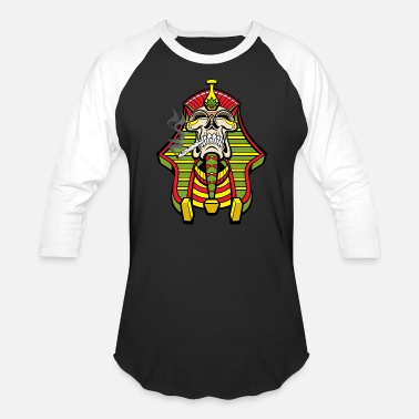 Egyptian Skull Egyptian Pharaoh Skull Smoking Weed Joint - Baseball T-Shirt
