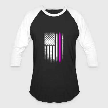 American Cancer Society american flag pink line breast cancer solidarity h - Baseball T-Shirt