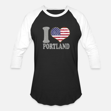 I Heart Portland I Heart Portland City Pride July 4th American Flag - Baseball T-Shirt