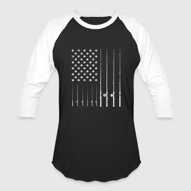 Funny Fisherman Fishing American Flag T-shirt Gift - Baseball T-Shirt