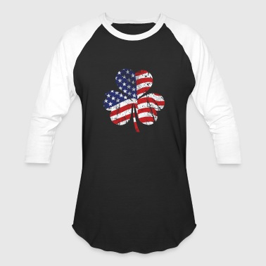 Irish Clover American Flag - Baseball T-Shirt