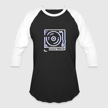 Retro Glitch Vinyl Record DJ Turntable - Baseball T-Shirt
