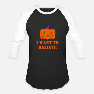 I Want To Believe Aliens i want to believe alien pumpkin - Baseball T-Shirt
