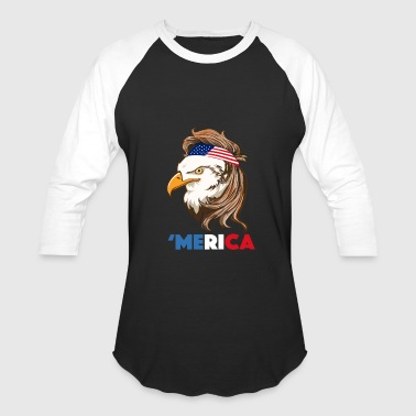 Bald Eagle Mullet 4th of July - Merica - Baseball T-Shirt