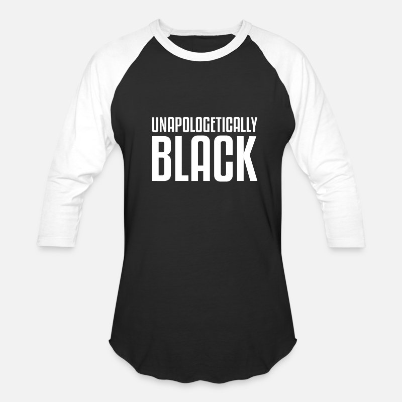 Black T-Shirts - unapologetically black - Unisex Baseball T-Shirt black/white