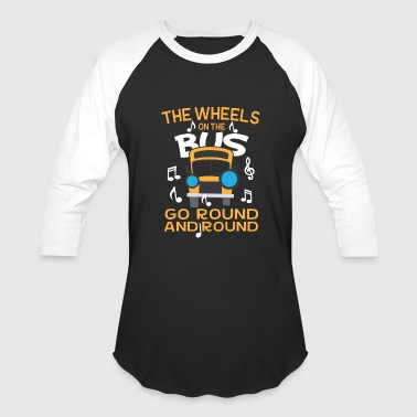 Back School Bus Funny Back To School Musical Notes School Bus - Baseball T-Shirt