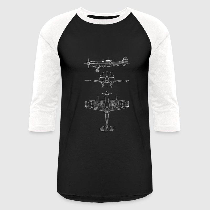 Spitfire airplane blueprint mens baseball t shirt spreadshirt spitfire airplane blueprint baseball t shirt malvernweather Choice Image