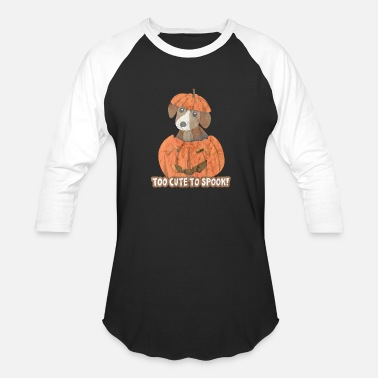 Pumkin Puppy Too Cute To Spook Halloween Dog Shirt - Baseball T-Shirt