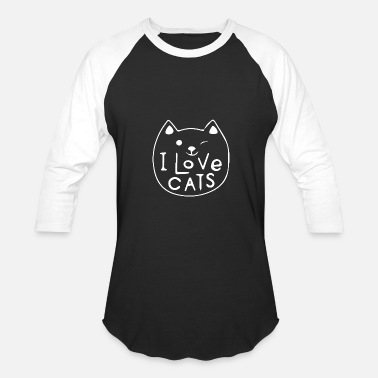 Motif Pussy I love cats cat motif cat saying cat - Baseball T-Shirt