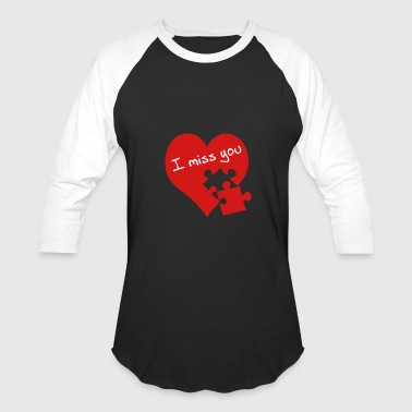 Red Heart I miss you - Baseball T-Shirt
