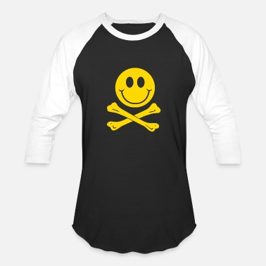Pirate Skull And Crossbones Smiley Pirate Skull and Crossbones - Baseball T-Shirt