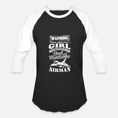 Airman Mom Airman - Airman - this girl is protected by a ai - Baseball T-Shirt