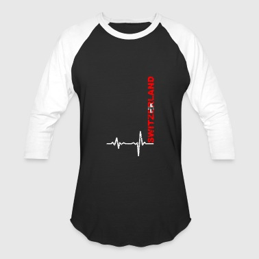 Lugano Heartbeat Switzerland font gift - Baseball T-Shirt