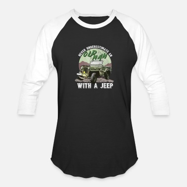 Outdoor Enthusiast Never Underestimate An Old Man Outdoor Driving Riding Enthusiast - Baseball T-Shirt