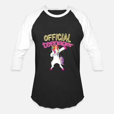 Official Funny Official Teenager Dabbing Unicorn Shirt th Birthday - Baseball T-Shirt