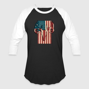 Avide Love American Flag Deer Hunter - Baseball T-Shirt