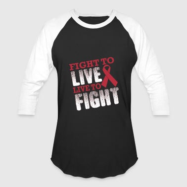 Living With Cancer Fight To Live Live Fight Breast Cancer Awareness - Baseball T-Shirt