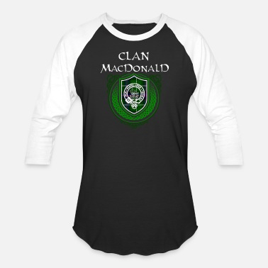 Surname MacDonald Surname Scottish Clan Tartan Crest Badge - Unisex Baseball T-Shirt