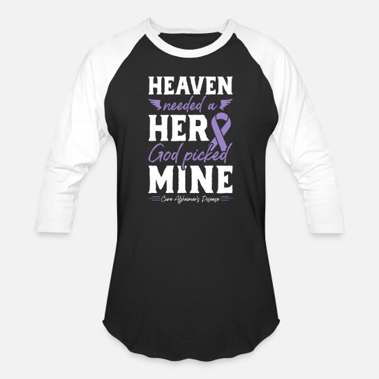 Memory T-Shirts - Alzheimer's Tshirt Heaven Needed a Hero God - Unisex Baseball T-Shirt black/white