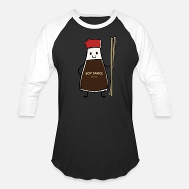Soy Soy Sauce Bottle condiment Asian chopsticks - Unisex Baseball T-Shirt