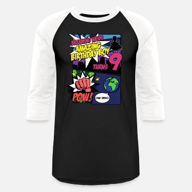 Superhero Birthday Boy TShirt Turns 9 Amazing