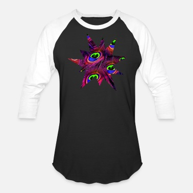 Feather Colorful Peacock Feather Graphic Explosion Animal - Unisex Baseball T-Shirt