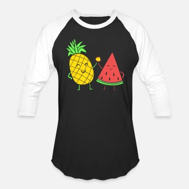 Pineapple And Watermelon pineapple watermelon besties - gift idea - Baseball T-Shirt