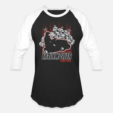 Lawn Mower Racing Death Skull Lawn Mower - Unisex Baseball T-Shirt