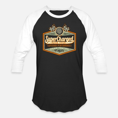 Rockabilly Gift for Rockabillys and Bikers Super Charged - Unisex Baseball T-Shirt