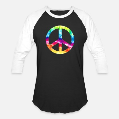 Sign Tie Die Peace Sign - Unisex Baseball T-Shirt