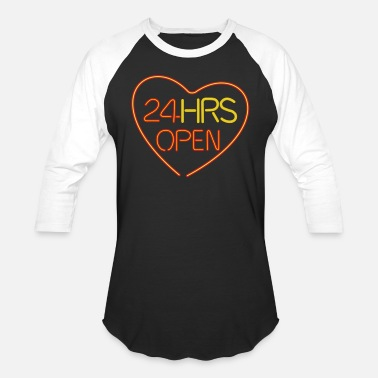 Partner neon sign: 24 hrs open heart - Unisex Baseball T-Shirt