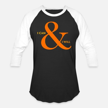 Lettering I can I will title of calligraphy text quotes - Unisex Baseball T-Shirt