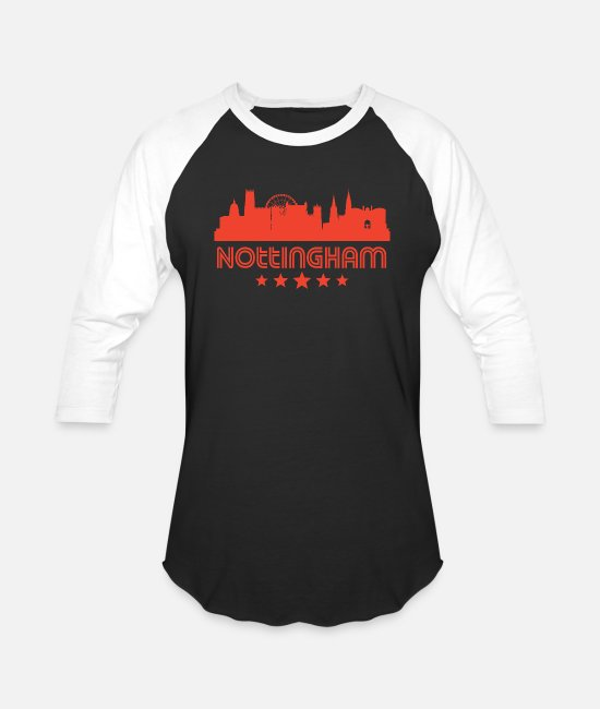 Nottingham T-Shirts - Retro Nottingham Skyline - Unisex Baseball T-Shirt black/white