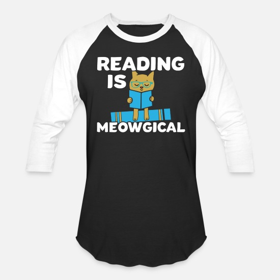 Read T-Shirts - Reading Cat Pet Meow Bookworm Book Funny Gift - Unisex Baseball T-Shirt black/white