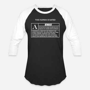 Agnostic Atheist - This Human is Rated A for - Unisex Baseball T-Shirt