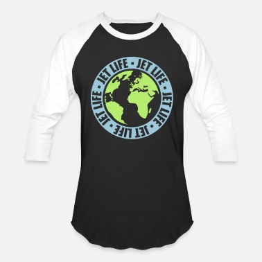 Jet circle pilot earth travel jetset stamp round world - Unisex Baseball T-Shirt