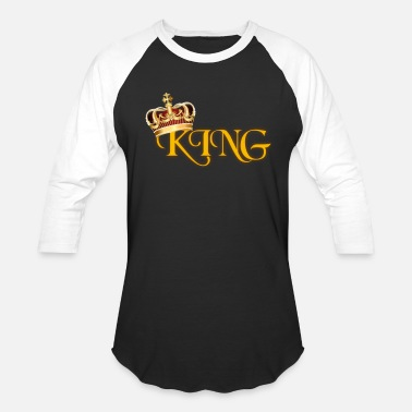 Lettering GOLD KING CROWN WITH YELLOW LETTERING - Baseball T-Shirt