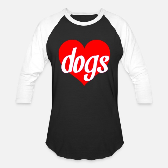 Love T-Shirts - dogs dogs heart i love dogs gifts - Unisex Baseball T-Shirt black/white