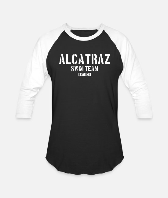 Escape T-Shirts - Alcatraz Swim Team est 1934 California Prison Jail - Unisex Baseball T-Shirt black/white