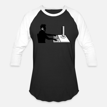 Work Pc Above working computer pc sitting keyboard mouse s - Unisex Baseball T-Shirt