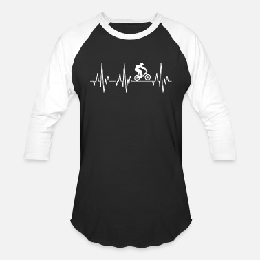 Halfpipe Heartbeat BMX Bicycle Bike Halfpipe Cyclist - Unisex Baseball T-Shirt