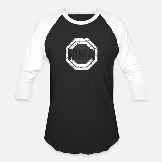 Mma T-Shirts - MMA Mixed Martial Arts Octagon - Unisex Baseball T-Shirt black/white