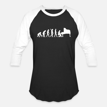 Rhythm Piano - evolution piano player pianist funny orc - Unisex Baseball T-Shirt