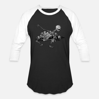 Grave Skeleton Bass - Unisex Baseball T-Shirt