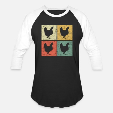 retro chickens - Unisex Baseball T-Shirt