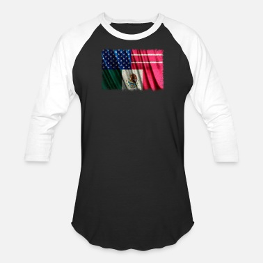 Mexican Green Mexican American 4th of July Mexican American Flag - Baseball T-Shirt
