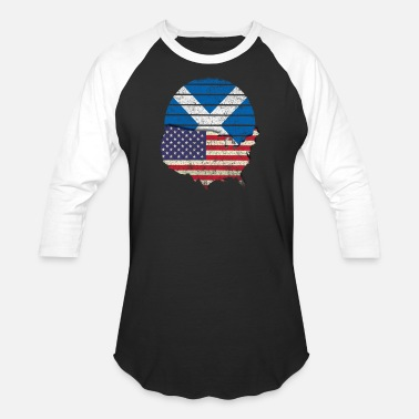 Scottish American Flag Scottish American Flag Shirt American Grown Scottish Roots - Baseball T-Shirt
